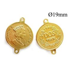 Brass Queen Elizabeth 2 Coin Pendant 19mm with 2 loop