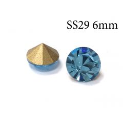 6mm SS29 Undrilled Fancy Stones Blue Aquamarine Foil Back