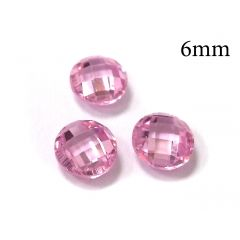 6mm Undrilled Loose Cubic Zirconia Synthetic CZ Gemstone Pink Briolette