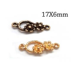 Brass Flower Link 17x6mm with 2 loops