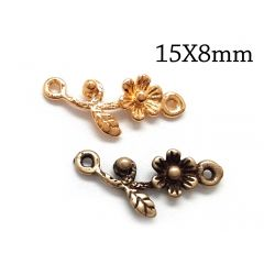 Brass Flower Link 15x8mm with 2 loops