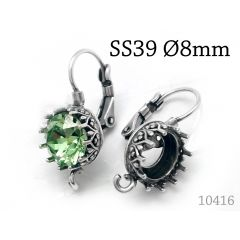 5 pairs Bezel Earring Settings 8mm fit SS39 JBB Findings Jewelry Base