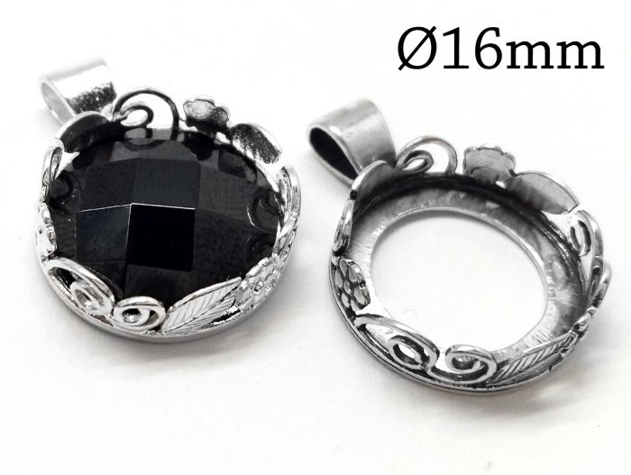 Oval Bezel 16x12mm with Bail Sterling Silver 1pc